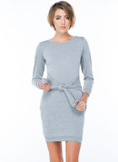 Knot Only Tie-Front Sweatshirt Dress