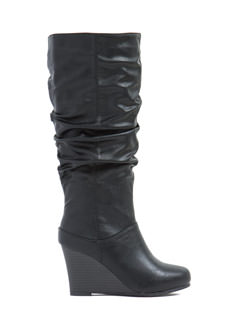 Slouchy Babe Faux Leather Boots