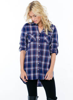 Forever Flannel Button-Up Tunic