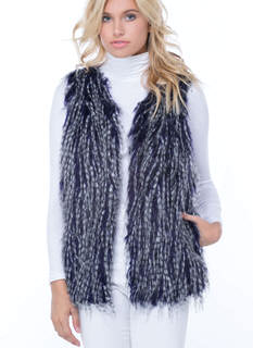 Stripe Your Fancy Faux Fur Vest