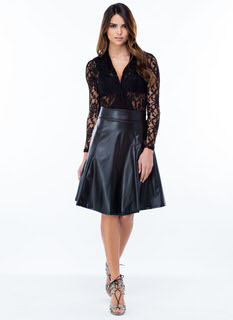 Slick Faux Leather Skirt