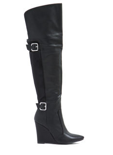 Double Trouble Buckled Wedge Boots