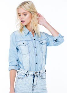 Carefree Chambray Button-Up Shirt