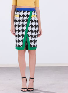 Color Me Rad Knit Houndstooth Skirt
