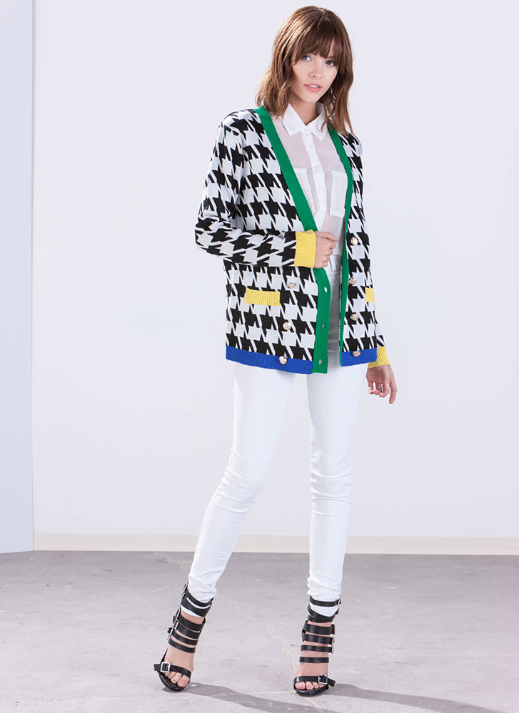 Color Me Rad Houndstooth Cardigan