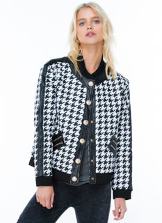 Push My Buttons Houndstooth Bomber