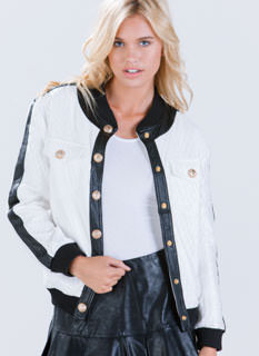 Push My Buttons Quilted Bomber