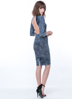 Back Out Acid Wash Mockneck Dress