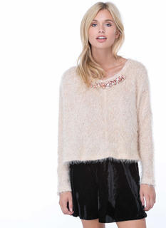 Crown Jeweled Fuzzy Sweater