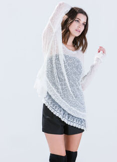 Romantic Lace Edged Sweater