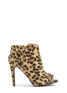 Furry Up Leopard Peep-Toe Booties