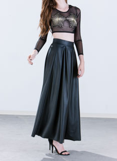 Aim To Pleats Faux Leather Maxi Skirt