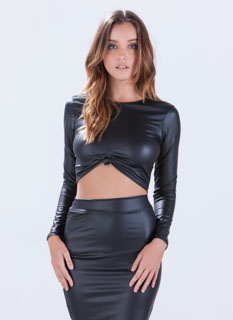 Faux Leather Weather Crop Top