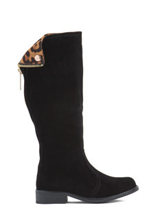Peek-A-Boo Faux Leather Boots