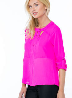 Slivered Cut-Out Blouse