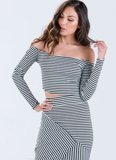 Directional Striped Crop Top
