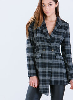 Clad In Plaid Asymmetrical Blazer