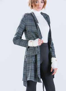 Glen Plaid Draped Trench Coat