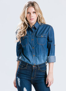 Gradient Denim Button-Up Shirt