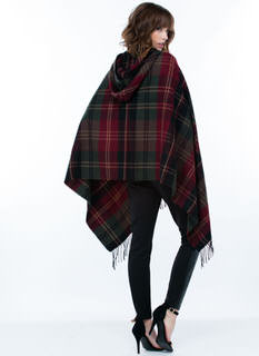 Highland Plaid Hooded Poncho