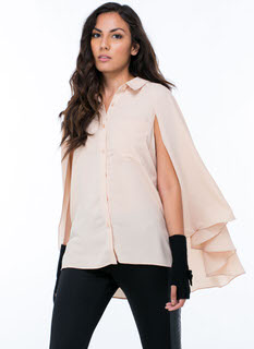 Caped Crusader Button-Up Blouse