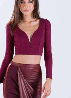 All Curves Plunging Crop Top