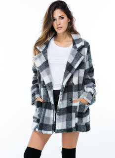 Feeling Fuzzy Plaid Coat