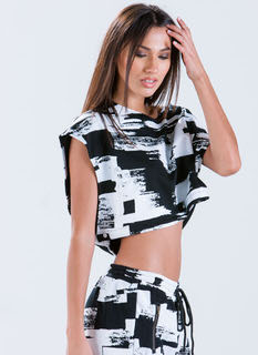 Brush Hour Boxy Paint Print Crop Top