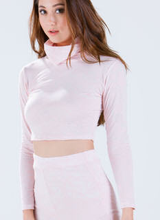 What A Burnout Turtleneck Crop Top