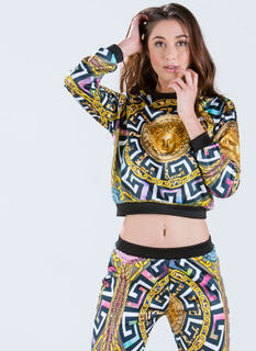 Medusa Medallion Mixed Print Top