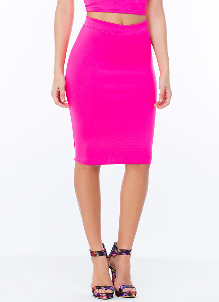 Solid Foundation Scuba Pencil Skirt