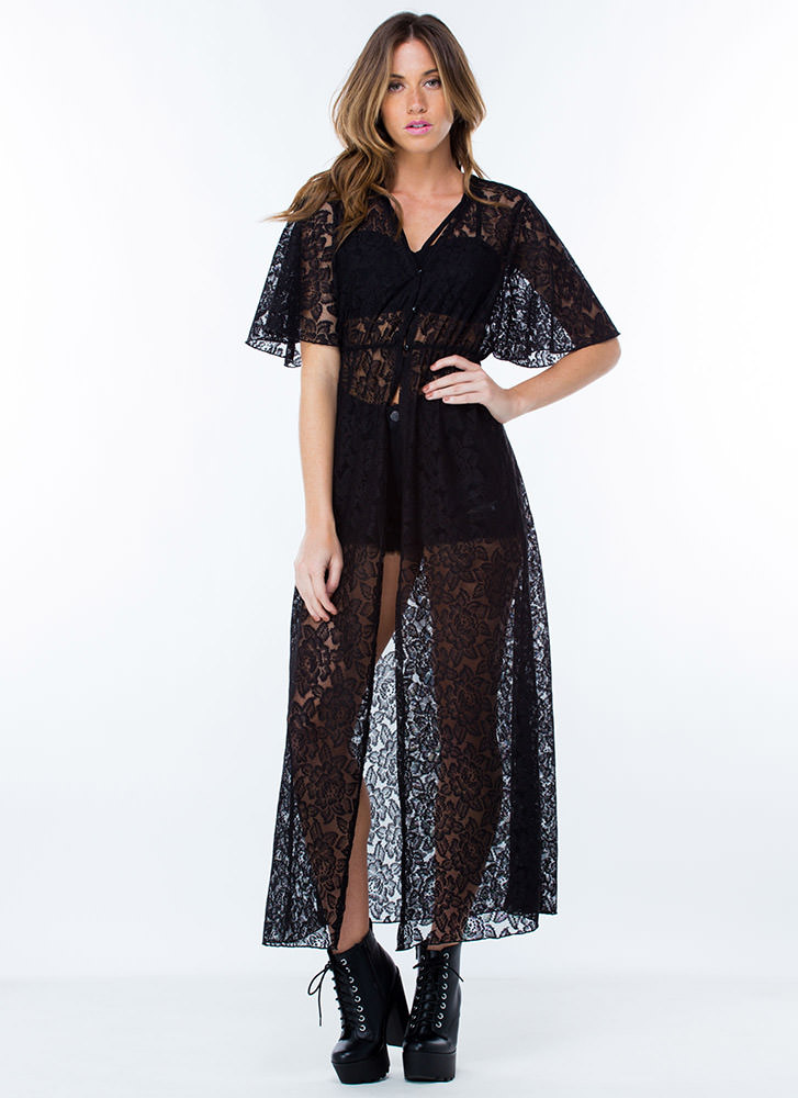 Lace All The Way Kimono Duster