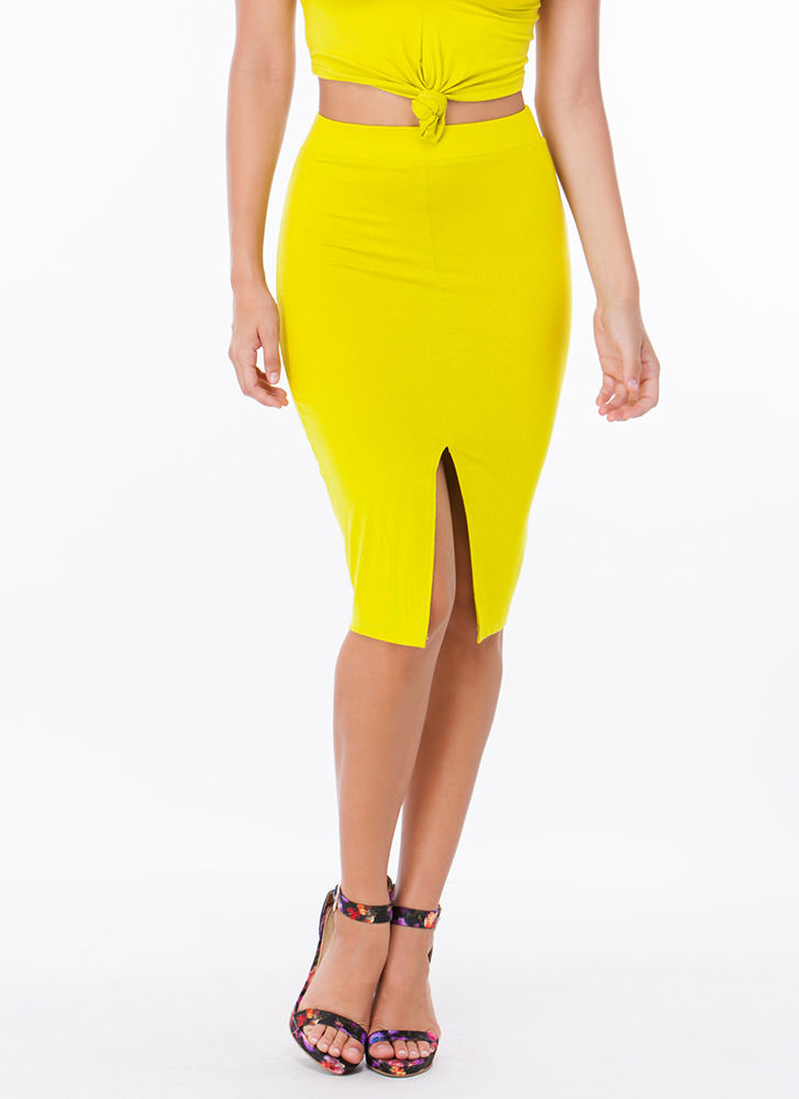 Solid Foundation Cut-Out Slit Skirt