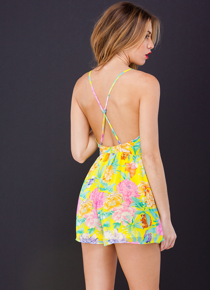 Fresh Picked Open Back Floral Romper