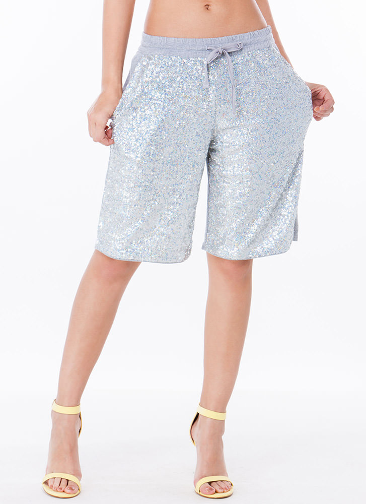 Sequined Out Terry Bermuda Shorts