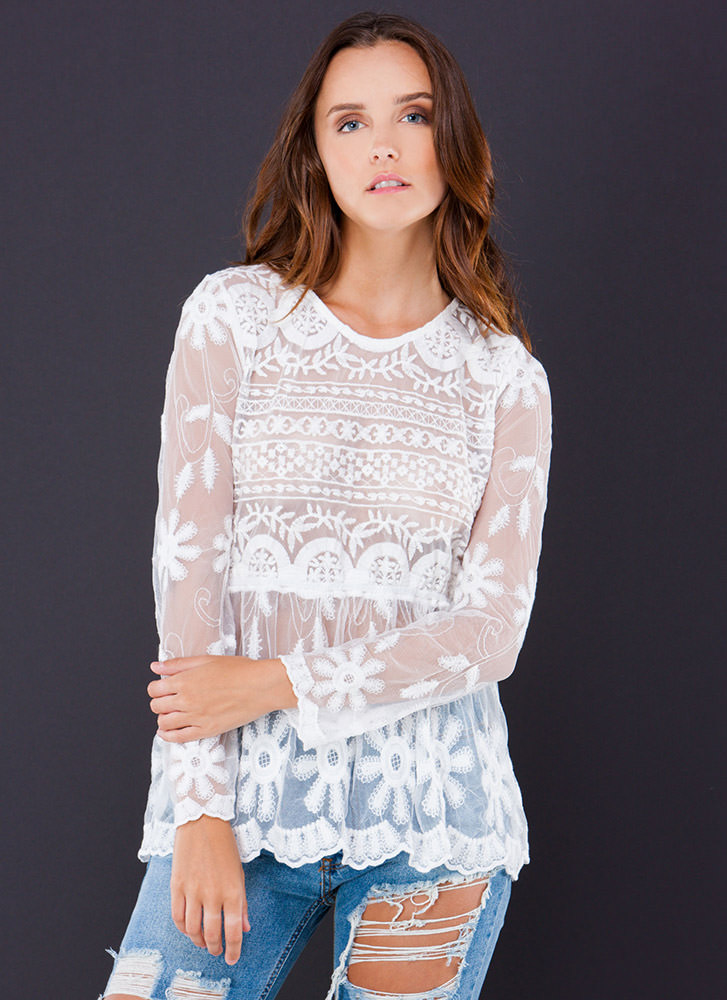The Grapevine Embroidered Mesh Top