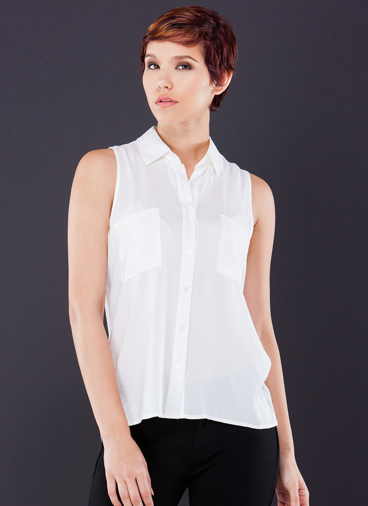 Bare Arms Collared Button-Up Blouse