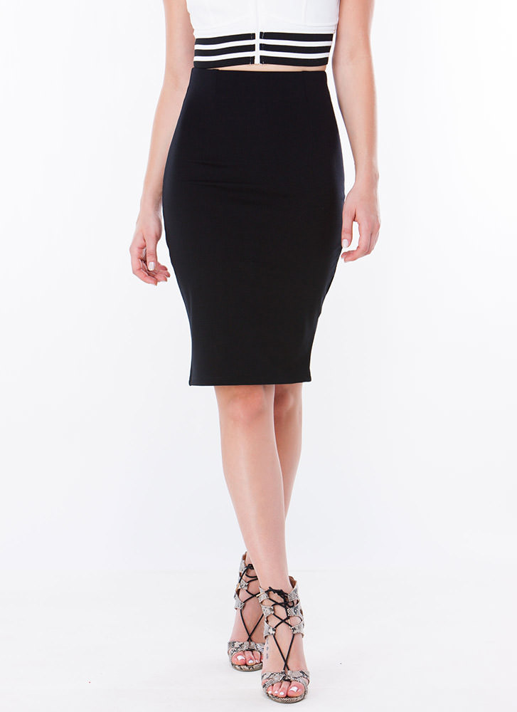 Solid Work High-Waisted Pencil Skirt