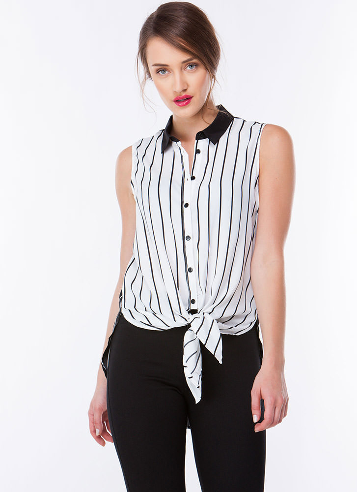 Get In Line Tie-Front Button-Up Top