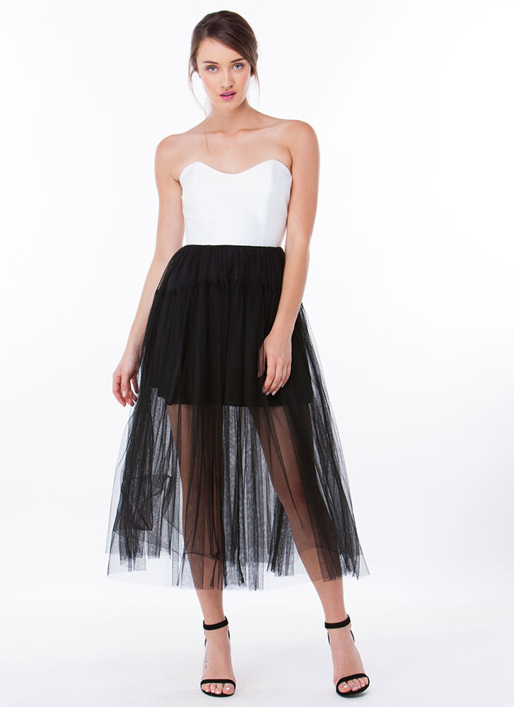 Only U Tulle Contrast Midi Dress
