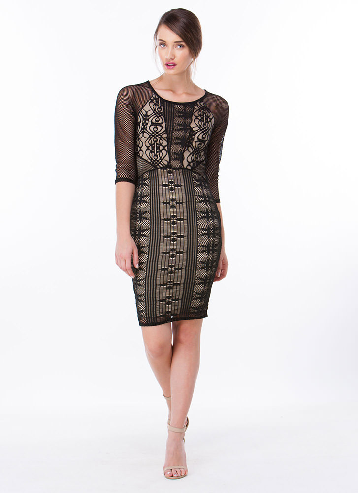 Netted Worth Layered Lace Dress