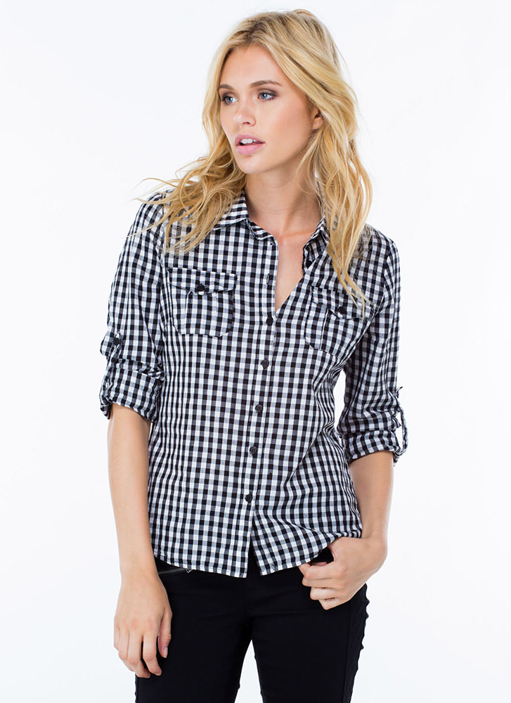 Gingham Style Checked Plaid Shirt