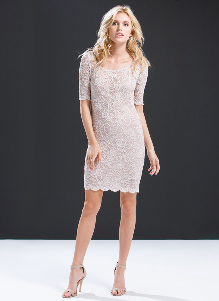 Sheered Scallops Plunging Lace Dress