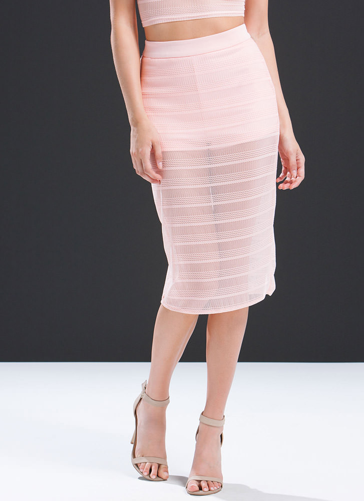 All Curves Zigzag Mesh Skirt