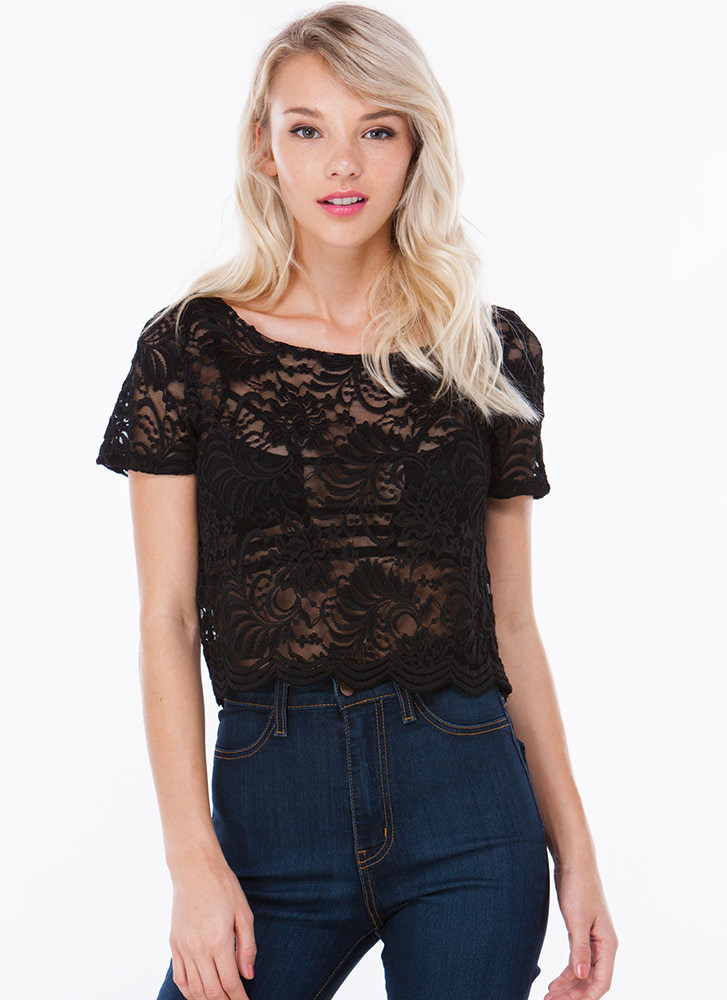 Floral Filigree Lace Crop Top