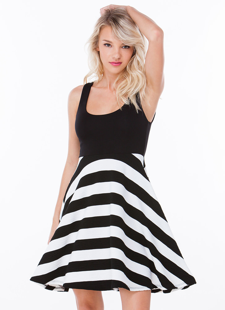 Party Time Striped A-Line Dress