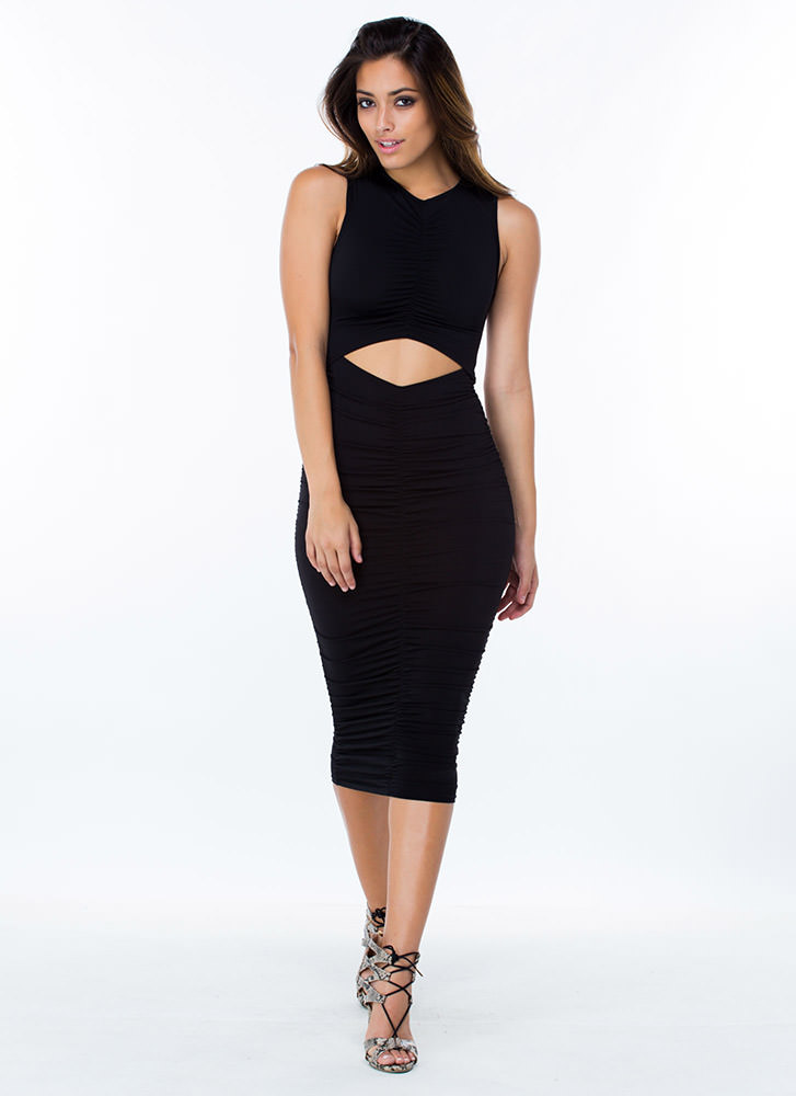 Ruche Hour Cut-Out Bodycon Dress