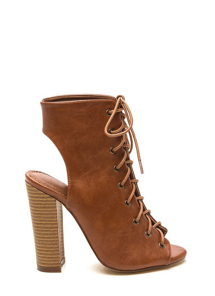 Lace Up Heel Booties