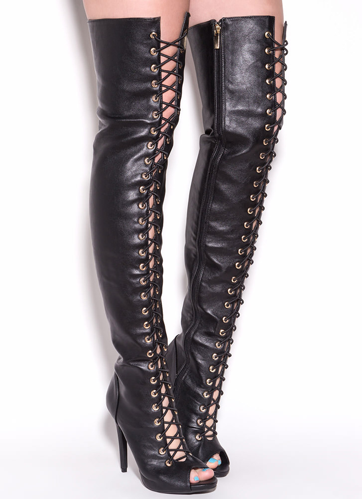 Thigh High Lace Up Leather Boots - Yu Boots