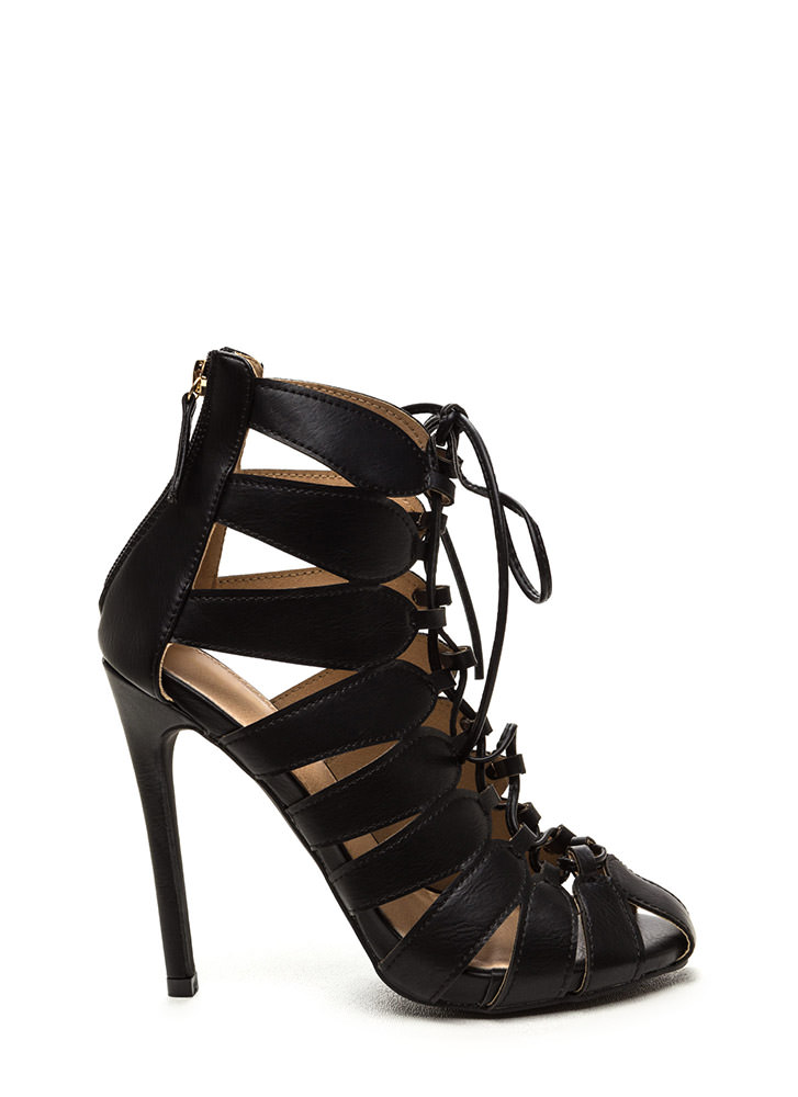 Act Your Cage Looped Lace-Up Heels